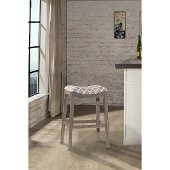 Sorella Non-Swivel Counter Stool in Gray Finish and Trellis Gray Fabric, 20-1/2'' W x 16-1/4'' D x 25-3/4'' H