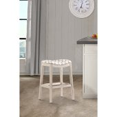 Sorella Non-Swivel Counter Stool in White (Wirebrush) Finish and Trellis Ash Fabric, 20-1/2'' W x 16-1/4'' D x 25-3/4'' H