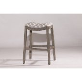 Sorella Non-Swivel Bar Stool in Gray Finish and Trellis Gray Fabric, 20-3/4'' W x 16-3/4'' D x 29-3/4'' H