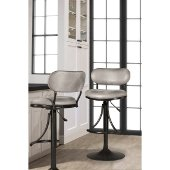 Athena Swivel Adjustable Counter/Bar Stool in Black Finish and Gray Fabric, 19-1/4'' W x 18-3/4'' D x 34'' - 40'' H