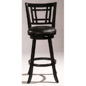 Fairfox Swivel Counter Stool in Black Finish and Black Faux Leather, 18-1/2'' W x 19-1/2'' D x 37-3/4'' H