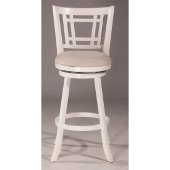 Fairfox Swivel Counter Stool in White Finish and Ecru Fabric, 18-1/2'' W x 19-1/2'' D x 37-3/4'' H