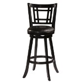 Fairfox Swivel Bar Stool in Black Finish and Black Faux Leather, 18-1/2'' W x 19-1/2'' D x 43-1/2'' H