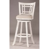 Fairfox Swivel Bar Stool in White Finish and Ecru Fabric, 18-1/2'' W x 19-1/2'' D x 43-1/2'' H