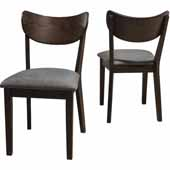 San Marino Dining Chair with Wood Back, Set of 2 in Chestnut Finish, 22-1/2''W x 18''D x 33''H
