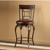 Granada Swivel Counter Stool, Dark Chestnut Finish, Brown Vinyl Seat, 17.5''W x 21.5''D x 42''H