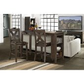 Spencer 3-Piece Counter Height Dining Set with X-Back Counter Height Stools in Dark Espresso (Wire brush) Finish and Brown Faux Leather, 55'' W x 24'' D x 40-1/2'' H