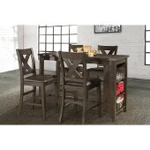 Spencer 5-Piece Counter Height Dining Set with X-Back Counter Height Stools in Dark Espresso (Wire brush) Finish and Brown Faux Leather, 55'' W x 24'' D x 40-1/2'' H