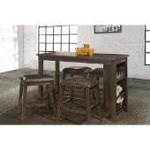 Spencer 5-Piece Counter Height Dining Set with Backless Counter Height Stools in Dark Espresso (Wire brush) Finish and Brown Faux Leather, 55'' W x 24'' D x 36'' H