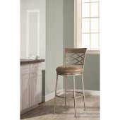 Hutchinson Swivel Counter Stool in Pewter Finish and Aged Ivory Fabric, 18'' W x 20'' D x 41-1/2'' H