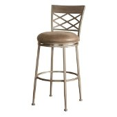 Hutchinson Swivel Bar Stool in Pewter Finish and Aged Ivory Fabric, 18'' W x 20'' D x 45-1/2'' H