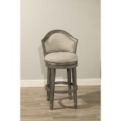 Monae Swivel Bar Stool in Distressed Dark Gray Finish and Woven Gray Fabric, 21-3/4'' W x 22-5/8'' D x 43'' H