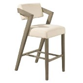 Snyder Non-Swivel Bar Stool in Aged Gray Finish and Ecru Fabric, 22-1/2'' W x 25-1/2'' D x 43'' H