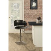 Pelfrey Adjustable Swivel Stool in Champagne Finish and Black Fabric, 22-1/2'' W x 20-1/4'' D x 37-1/2'' -  41-1/2'' H