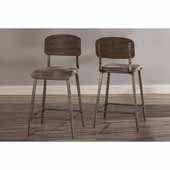 Adams Non-Swivel Counter Stool- Set of 2, Weathered Brown Wood with Antique Steel Metal with Smoke Faux Leather Upholstery, 20''W x 18''D x 40''H