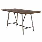 Adams Counter Height Rectangle Dining Table in Weathered Brown Wood and Antique Steel, 72''W x 36''D x 36''H