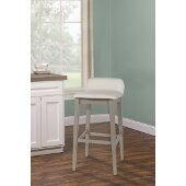 Maydena Non-Swivel Counter Stool in Distressed Gray Finish and Ecru Fabric, 15'' W x 18-1/4'' D x 31-1/8'' H