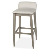 Maydena Non-Swivel Bar Stool in Distressed Gray Finish and Ecru Fabric, 16-1/2'' W x 18-3/4'' D x 35-1/8'' H