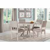Elder Park 5-Piece Round Dining Set with (4) Chairs in White Sand Wood and Oatmeal Linen