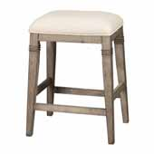 Arabella Backless Non-Swivel Counter Stool, Ecru Upholstery and Distressed Gray Wood, 18-1/2''W x 15-3/4''D x 25-1/4''H