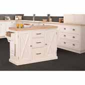 Brigham Kitchen Island in White Finish Wood and Natural Finish Wood Top, 48''W x 18''D x 36-1/4''H