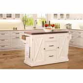 Brigham Kitchen Island in White Finish Wood and Stainless Steel Top, 48''W x 18''D x 36-1/4''H