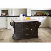 Brigham Kitchen Island in Black Finish Wood and Granite Top, 48''W x 18''D x 36-1/4''H
