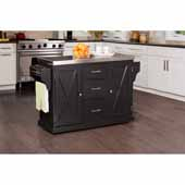 Brigham Kitchen Island in Black Finish Wood and Stainless Steel Top, 48''W x 18''D x 36-1/4''H