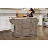 Brigham Kitchen Island in Gray Finish Wood and Granite Top, 48''W x 18''D x 36-1/4''H