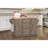 Brigham Kitchen Island in Gray Finish Wood and Natural Finish Wood Top, 48''W x 18''D x 36-1/4''H