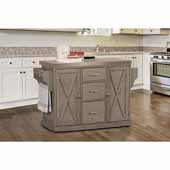 Brigham Kitchen Island in Gray Finish Wood and Stainless Steel Top, 48''W x 18''D x 36-1/4''H