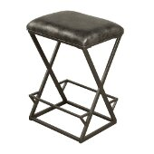 Kenwell Backless Non-Swivel Bar Stool in Charcoal Finish and Charcoal Gray Fabric, 17'' W x 14'' D x 30'' H