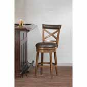 Glen Cove Swivel Counter Height Stool in Pine and Aged Brown Faux Leather, 18-1/2''W x 20-1/2''D x 44-1/2''H