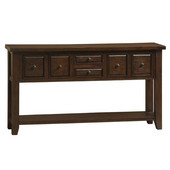 Tuscan Retreat ® 6 Drawer Hall Table, 67In. W x 15In. D x 36In. H, Rustic Mahogany