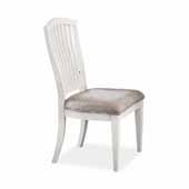 Rockport Dining Chairs in White Wood and Linen Upholstery, Set of 2, 24''W x 21-3/4''D x 40-1/2''H