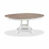 Rockport Round/Ovall Extension Dining Table in White Wood and Driftwood, 56''-74''W x 54''D x 29''H