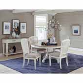 Rockport 5-Piece Round/Oval Extension Table Dining Set with (4) Side Chairs in White Wood and  Linen Upholstery