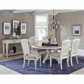Rockport 7-Piece Round/Oval Extension Table Dining Set with (6) Side Chairs in White Wood and Linen Upholstery