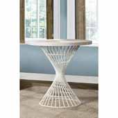 Kanister Round Counter Height Dining Table with White Wood and Metal, 23-7/8''W x 23-7/8''D x 36''H