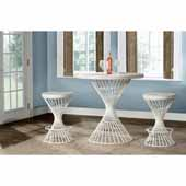 Kanister 3-Piece Counter Height Dining Set with (2) Counter Stools in White Finish