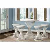 Kanister 5-Piece Counter Height Dining Set with (4) Counter Stools in White Finish