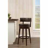 Lawton Swivel Counter Height Stool in Walnut Wood and Weathered Walnut Faux Leather, 20-1/4''W x 19''D x 36''H