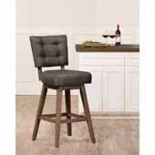 Lanning Swivel Bar Height Stool in Weathered Brown Wood and Chocolate Brown Upholstery, 24''W x 19-3/4''D x 44-1/2''H