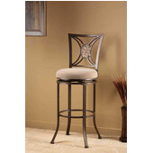 Rowan Swivel Bar Stool, Silver Brown Finish, Light Brown Seat, 19.25''W x 17''D x 45.25''H