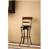 Kennedy Swivel Counter Stool, Black/Gold with Cherry Finished Panel Top Finish, Black Vinyl Seat, 17''W x 19.25''D x 38.5''H