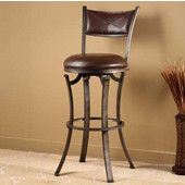 Drummond Swivel Bar Stool, Rubbed Pewter Finish, Neutral Vinyl Seat, 17''W x 19.25''D x 42.25''H
