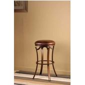 Kelford Backless Swivel Counter Stool, Antique Bronze Finish, Copper Vinyl Seat, 17''W x 17''D x 26''H