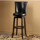 Copenhagen Swivel Bar Stool - Espresso Finish, Black Vinyl Seat, 18''W x 19''D x 43''H