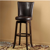 Copenhagen Swivel Bar Stool - Espresso Finish, Brown Vinyl Seat, 18''W x 19''D x 43''H