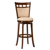 Jefferson Wood Swivel Counter Stool w/ Ivory Cushion